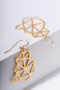 MIZYAN's gold plated geometric earrings, #jewelry #earrings @EtsyMktgTool #earrings #goldplatedearrings #geometricearrings #goldplated
