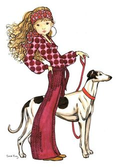 Marguerite taking Ruben for a walk - Sarah Kay Sara Kay, Creation Art, Vintage Drawing, Sweet Pic, Holly Hobbie, Illustrations, Cute Illustration, Rock Art, Cute Drawings