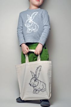 Recycled Cotton Rabbit Bag by KLTworks on Etsy