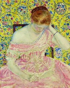 ⊰ Posing with Posies ⊱ paintings & illustrations of women & children with flowers - Frederick Carl Frieseke - The Old Fashioned Gown, 1919