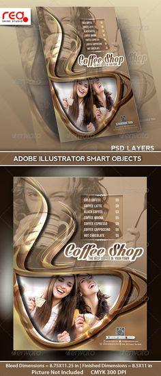#Coffee Shop Menu Flyer Template - #Restaurant #Flyers Download here: https://graphicriver.net/item/coffee-shop-menu-flyer-template/5161759?ref=alena994