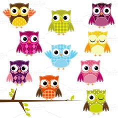 Patchwork Owls Vectors and Clipart ~~ *Please click on image for full preview*    Our Patchwork Owls set includes 1 Illustrator EPS(8) vector file, 11 PNG files with transparent backgrounds and 11 JPG files with white backgrounds. The PNGs and JPGs are 300dpi and approximately 10 inches at their…