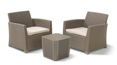 Keter Corona Duo Graphite All-Weather Resin Plastic Patio Seating Set with Grey Cushions 234078 - The Home Depot