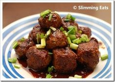 Chicken Meatballs in an Asian Barbecue Sauce | Slimming Eats - Slimming World Recipes - FREE WEIGHT LOSS EBOOKS AT http://www.exactshare.com