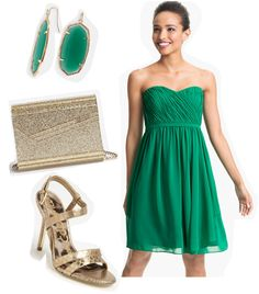 How would you style an #emerald Donna Morgan dress? Kendra Scott earrings, Jimmy Choo clutch, Sam Edelman shoes at Nordstrom