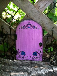 New Fairy Door, purple with blue flowers, Birthday gifts, Housewarming on Etsy, $19.00