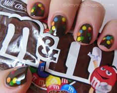 super simple rainbow dot M and M nails