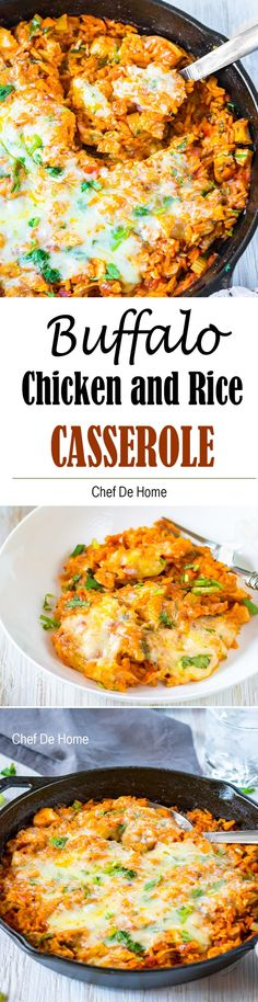 Recipe for One Pot Buffalo Chicken and Rice Casserole. A comforting cheesy chicken and rice casserole loaded with buffalo sauce, chicken, veggies, rice and melted cheese! This, my friends, is my take on weekend game-day favorite Buffalo Chicken turned into a comforting winter dinner! You need just 5 minutes of prep and 20 minutes of cooking time.