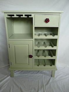 Unique Wine Rack and Cabinet Idea #WineRack #LightGreen #WineGlassHolder