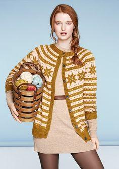 """1 """"Fana"""" kofte pattern by Sandnes Garn Cardigan Design, Cardigan Pattern, Crochet Cardigan, Knit Crochet, Fair Isle Knitting, Knitting Yarn, Knitting Patterns, Norwegian Knitting, Vintage Knitting"""