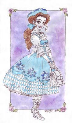 Lolita Belle.  My own dress sense is questionable at best but I love looking up and drawing beautiful/unusual/historical/all of the above outfits.  I'm not a lolita aficionado so I referenced from this although I made the bag bigger than the ones I've otherwise seen, Belle would need one that takes at least two to three books.