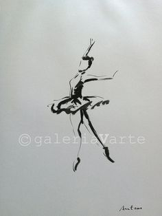 Original ink drawing - Ballet Dancer - art