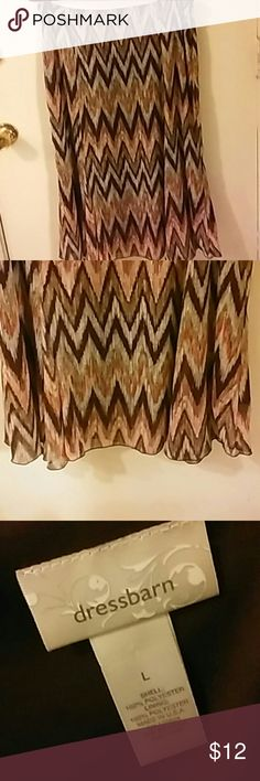 """MAXI SKIRT from Dressbarn Maxi Skirt with brown, tan and gray chevron design with gold thread running through it. Fully lined,  hidden side zipper, 100% polyester. Length is 30.5"""", waist is 16.5"""". Dress Barn Skirts Maxi"""