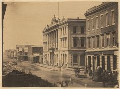 San Francisco, 1856. Photo by unknown. Merchants' Exchange, on Battery street.
