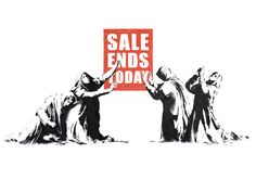 Image: Sale Ends by Banksy is an example of how the artist explores street art and graffiti art to make statements about capitalism and important social issues. Banksy Graffiti, Bansky, Street Art Graffiti, Graffiti Piece, Graffiti Artists, Graffiti Lettering, Banksy Canvas Prints, Custom Canvas Prints, Canvas Art