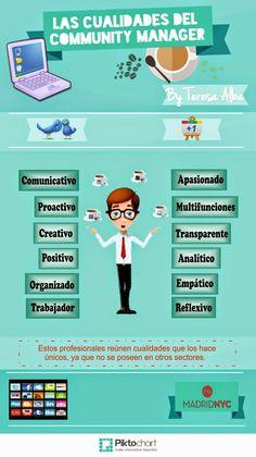 Cuáles son las cualidades necesarias para gestionar comunidades online y qué es lo que te identificará como un buen #CommunityManager  #infografia