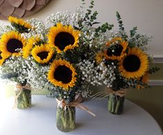 sunflower and baby's breath wedding bouquet arrangement