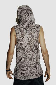 When worn down, the hood looks more like a scarf than a hoodie. Very fancy. Available in Grey Leopard. Modern Mens Fashion, Drop Crotch, Modern Man, Cowl, Collars, Tank Man, Menswear, Fancy, Hoodies