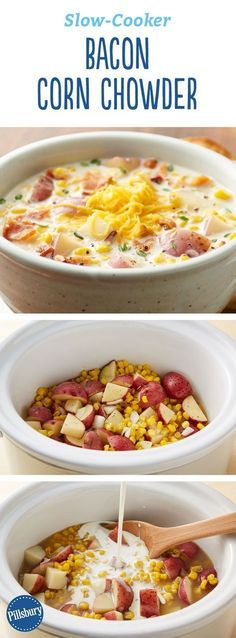 Slow-Cooker Bacon Corn Chowder: Hearty and creamy, this classic corn and potato soup gets extra oomph from our favorite ingredient -- bacon. It only takes a few minutes to pull together, and then the slow cooker will do all the work. Slow Cooker Bacon, Crock Pot Slow Cooker, Crock Pot Cooking, Slow Cooker Recipes, Crockpot Recipes, Cooking Recipes, Healthy Recipes, Cooking Ideas, Crock Pot Soup Recipes