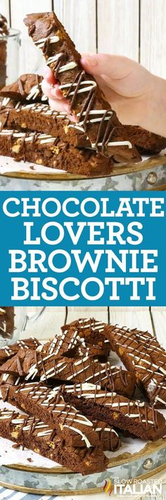 Chocolate Lovers Brownie Biscotti is the ultimate twist on the classic Italian cookie! A simple recipe for this glorious crunchy cookie, that is perfect for dunking, and will make the perfect gift for the chocoholic in your life! They are rich and chocolaty with 4 kinds of chocolate and a special ingredient to really enhance the flavor they totally irresistible! #ad #MedagliadOroMoment #nationalcoffeeday http://www.theslowroasteditalian.com/2017/09/chocolate-lovers-brownie-biscotti.html