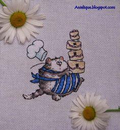 cute cat, cooking pie, cake, cross stitch
