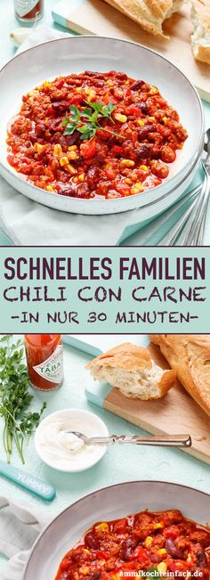 Quick Chili con Carne - ideal for families- Schnelles Chili con Carne – ideal für Familien Fast Families Chili con Carne Healthy Meals To Cook, Healthy Eating Tips, Quick Easy Meals, Easy Dinner Recipes, Healthy Recipes, Quick Recipes, Healthy Nutrition, Mothers Day Dinner, Carne Picada