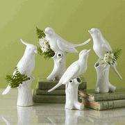 Limited Production Design: Set of 12 White Porcelain Bird Table Vases