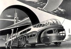Arthur Radebaugh Futurism, 1930´s The world was industrializing at such a rapid pace during this era that many started thinking ahead of their time, flying cars were invented back then, at least in drawings anyway...yet here we are still waiting for the hoverboard to appear.