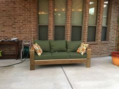 I created this sofa from 2x6s that were left over from a pergola we built. I got the cushions at Lowes for $57 per set (3 sets). This is the first thing I ever built and I did it all by myself including cutting the boards to length. In total it took about 4 hours. I am so proud!!! Thank you Ana White for giving me the confidence to build this furniture. I will never, ever, ever pay outrageous retail prices for wood furniture again.