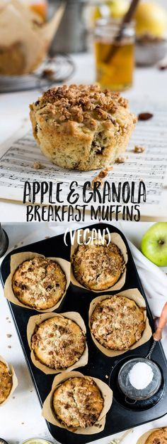 Delicious apple and granola breakfast muffins stuffed with dates and raisins #vegan #muffins #dairyfree | via @annabanana.co