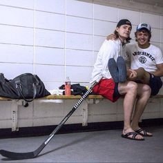 Artemi Panarin and Viktor Tikhonov of the Chicago Blackhawks.