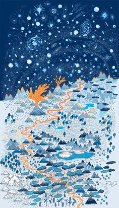 –Landscape poster by Vikki Chu. Reminds me of DnD adventure maps.