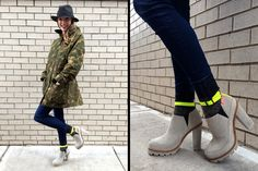 Camouflage and neon accent lug sole booties