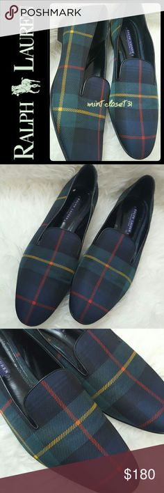Ralph Lauren Italy Leather Loafers Ralph Lauren Signature Collection Shoes in Gorgeous Leather Upper! Features The Iconic RL Plaid Pattern in Coated Canvas Exterior Loafers! Softly Padded Footbed for Added Comfort! Perfect for Everyday Casual!  Made in Italy with Easy Slip On Style and About Half an Inch Stacked Heel! Barely Used in Excellent Condition! Size 9 1/2B, a Rare Find Limited Edition from RL Luxe Collection! Ralph Lauren Shoes Flats & Loafers