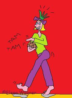 La cocinera almidonera se ha adornado la cabeza con la piña tropical que va a cocinar, ¡y es que es muy coqueta!