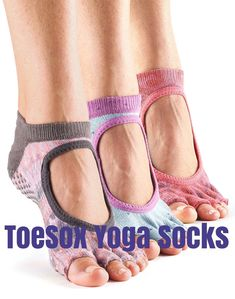 #ToeSox #YogaSocks are designed to be worn when doing yoga, Pilates, dance or barre workouts.  They come in a wide range of colors and patterns and several styles.  Click the link to the right to find out more: http://www.bestwomensworkoutreviews.com/4-toesox-toeless-yoga-socks-yoga-socks-toes-review