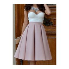 Rotita Zip Closure Light Pink Pleated Skater Skirt (26 AUD) ❤ liked on Polyvore featuring skirts, pink, purple skirt, vintage circle skirt, purple skater skirt, pleated a line skirt and knee length a line skirt