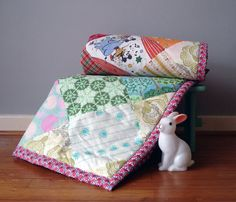 Handmade baby quilt from vintage fabrics by annascupoftea on Etsy, £45.00