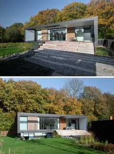 19 Examples Of Modern Scandinavian House Designs | Large windows, wood details, and black metal all make up the exterior of this home to create a modern contemporary look that stands out against the forest behind it.