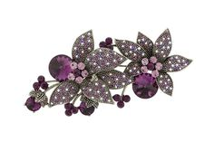 Flower Brooches Rhinestones and Cubic Zirconia Elements adorn the petals of the flower and Antique Silver metal base. Gorgeous amethyst, light amethyst, and light amethyst AB crystal.