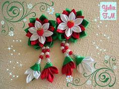 Канзаши мастер класс.Заколки с подвесками.Kanzashi.Diy.Tutorial Diy Lace Ribbon Flowers, Kanzashi Flowers, Ribbon Art, Ribbon Hair Bows, Diy Ribbon, Ribbon Crafts, Flower Crafts, Fabric Flowers, Kanzashi Tutorial