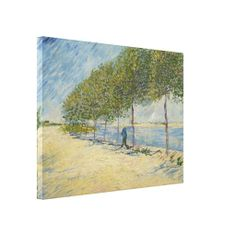 Along the Seine by Vincent Van Gogh, stretched canvas print. Oil on #canvas 1887 #landscape #painting of a row of trees and lone figure on the banks of the River #Seine. Working in #Paris, #VanGogh absorbed the painterly technique, color, and informal composition of the French #Impressionists. #wrappedcanvas #stretched #art #print  www.zazzle.com/justvangogh/canvas+prints?rf=238581041916875857&tc=pin&ps=120