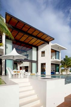 Bonaire House By Silberstein Architecture ~Wealth and Luxury ~Grand Mansions, Castles, Dream Homes & Luxury homes Amazing Architecture, Interior Architecture, Installation Architecture, Building Architecture, Modern Interior, Coastal House Plans, Design Exterior, Style At Home, Waterfront Homes