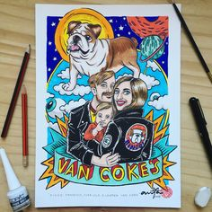 Customized family portraits: Detailed, personalized color cartoons by Nanna Venter.