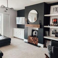Alcove Ideas Living Room, Feature Wall Living Room, Living Room Shelves, Cosy Living Room Decor, Alcove Decor, Navy Living Rooms, New Living Room, Home And Living, Dark Blue Living Room