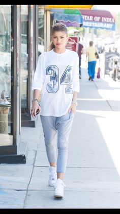 Just casual! She looks AMAZING, no matter if she is in sweats and sneakers, or…