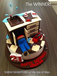 """From Pretty Witty Cakes - SARAH WAKEFORD from All About Cakes in the Isle of Man for her cake described as  """"Plumbing Birthday Cake: a cake requested for a 21st birthday for a trainee plumber""""."""