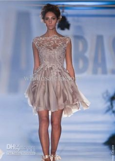 Wholesale Bridesmaid Dress - Buy New Sexy Elegant 2013 Chiffon Short Bridemaid Dresses with Bateau Lace Applique Cap Sleeves Paolo Sebastian Wedding Gowns PB 1217, $119.0 | DHgate