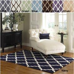 Hand-hooked Alexa Moroccan Trellis Wool Rug (5' x 8') | Navy, for the bedroom