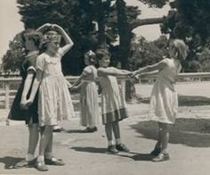 """""""Wash the dishes"""" game. Government school playground, Melbourne, 1954.  Source: Australian Children's Folklore Collection, Museum Victoria."""